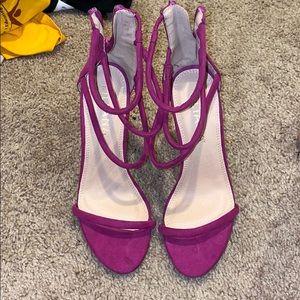 Purple Strappy Zipup Heels